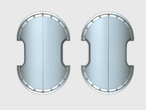 Base - Trojan Power Shields (L&R) in Smooth Fine Detail Plastic: Small