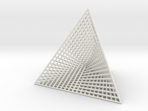 Small Ribbed Hemicube Tetrahedron in White Natural Versatile Plastic