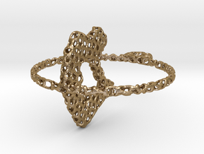 voronoi yoga pendant/earring in Polished Gold Steel