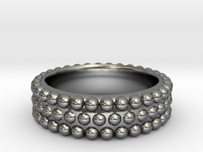 Hobnail Silver Ring Size 14 in Polished Silver