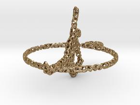 voronoi yoga earring pendant in Polished Gold Steel