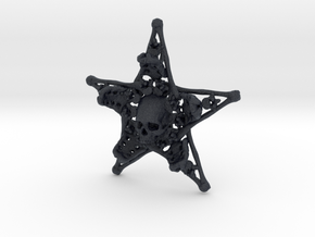 Mystical Pentagram Bone Pendant in Black Professional Plastic