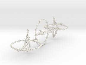 Three voronoi yoga earring pendant in White Natural Versatile Plastic