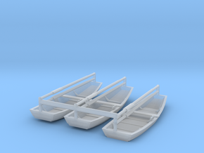 Three Rowboats, Scale N in Smoothest Fine Detail Plastic