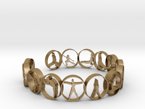 Yoga bangle with 14 poses 70mm in Polished Gold Steel