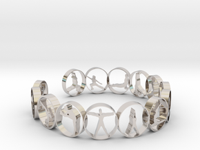 Yoga bangle with 14 poses 70mm in Rhodium Plated Brass