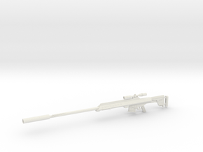 1:12 AS50 Sniper Rifle in White Natural Versatile Plastic: 1:12