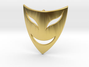 Drama Mask Pendant - Happy  in Polished Brass