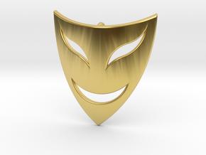 Drama Mask Pendant - Happy  in Polished Brass