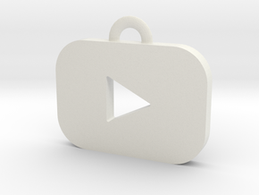 Youtube logo all materials necklace keychain gift in White Natural Versatile Plastic