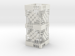Square Wire Tube With Tessellation Tower in White Natural Versatile Plastic
