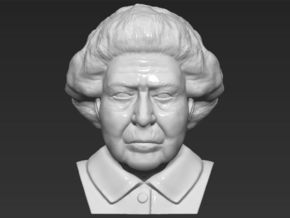 Queen Elizabeth bust  in White Natural Versatile Plastic
