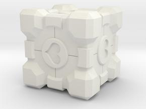 Companion Cube Heart Remix in White Natural Versatile Plastic