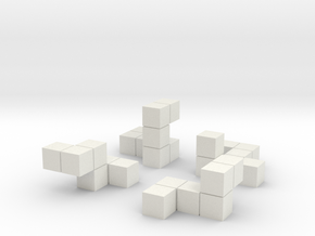 Tiny puzzle cube in White Natural Versatile Plastic