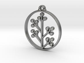 Floral Pendant VI in Natural Silver