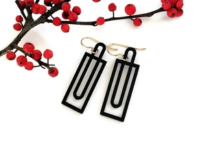 Simple Geometry - Modern Earrings with Clean Lines in Black Natural Versatile Plastic