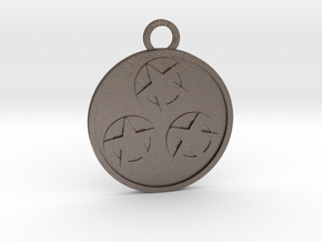 Three of Pentacles in Polished Bronzed-Silver Steel