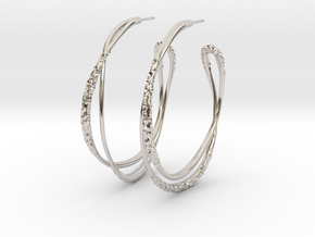 Cosplay Looped Hoop Earrings in Rhodium Plated Brass