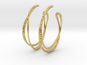 Cosplay Looped Hoop Earrings (no post) in Polished Brass