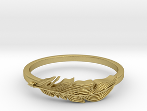 Feather Stackable Band in Natural Brass
