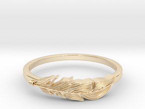 Feather Stackable Band in 14K Yellow Gold
