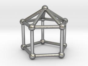0744 J09 Elongated Pentagonal Pyramid (a=1cm) #2 in Natural Silver