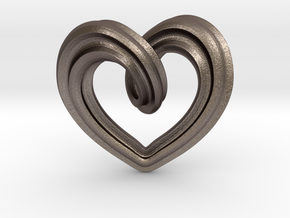 Heart Pendant Type A in Polished Bronzed-Silver Steel: Small