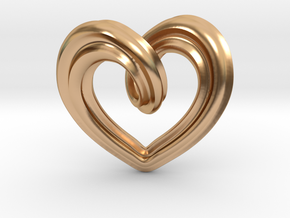 Heart Pendant Type A in Polished Bronze: Small