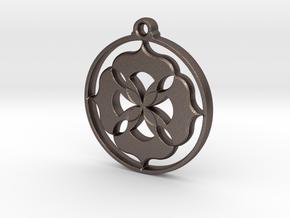 Lotus Pendant II in Polished Bronzed Silver Steel