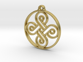 Four Leaf Clover Pendant in Natural Brass