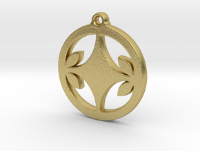 Diamond Leaf Pendant in Natural Brass