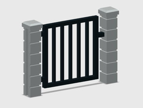 Block Wall - Rod Iron Man Gate-1 in Smooth Fine Detail Plastic: 1:87 - HO