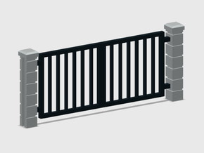 Block Wall - Rod Iron Vehicle Gate-1 in Smooth Fine Detail Plastic: 1:87 - HO