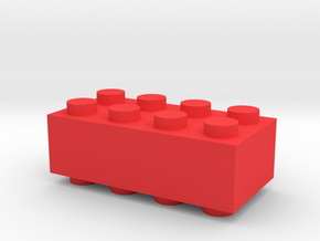 Custom LEGO-inspired brick 4x2 in Red Processed Versatile Plastic