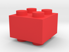 Custom LEGO-inspired brick 2x2 in Red Processed Versatile Plastic