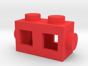Custom LEGO brick 2x1 in Red Processed Versatile Plastic