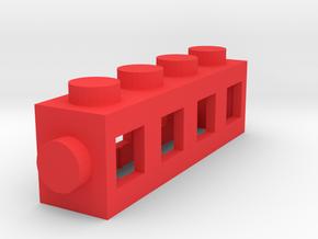 Custom LEGO-inspired brick 4x1 in Red Processed Versatile Plastic