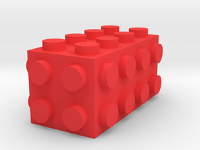 Custom LEGO-inspired brick 4x2x2 in Red Processed Versatile Plastic