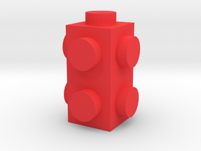 Custom LEGO-inspired brick 1x1x2 in Red Processed Versatile Plastic