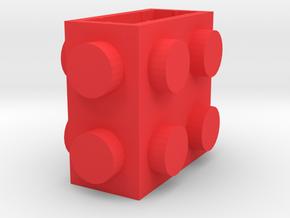 Custom LEGO-inspired brick 2x1x2 in Red Processed Versatile Plastic