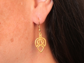 Celtic Knot Leaf Earrings in Matte Gold Steel