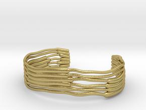 Chloroplast Thylakoid Cuff Bracelet in Natural Brass: Small