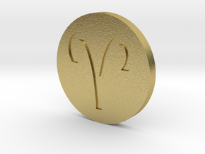 Aries Coin in Natural Brass