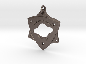 "TCR-""Light in Darkness,"" PENDANT  in Polished Bronzed-Silver Steel: Small"