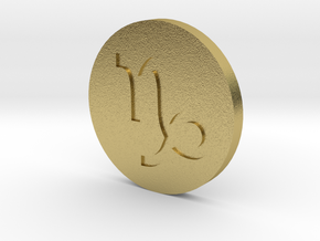 Capricorn Coin in Natural Brass