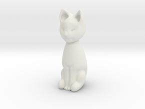 Cat statuette, 1:12 scale, 3cm tall in White Natural Versatile Plastic