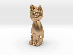 Cat statuette, 1:12 scale, 3cm tall in Polished Bronze