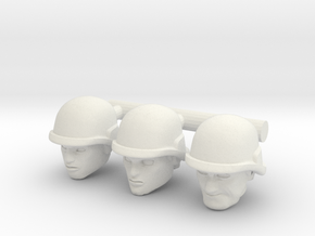 Soldier Heads - Multiple Scales in White Natural Versatile Plastic: Extra Small