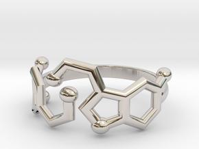 Dopamine + Serotonin Molecule Ring in Rhodium Plated Brass: 3.5 / 45.25