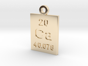 Ca Periodic Pendant in 14k Gold Plated Brass